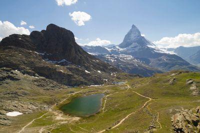 Hiking trails near Matterhorn, Switzerland.