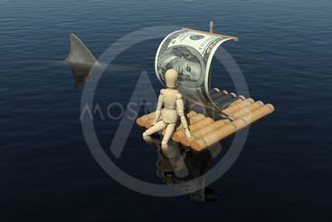 The wooden man floats on a raft with a sail from the dollar