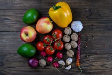 Background of healthy fruits, nuts and vegetables....