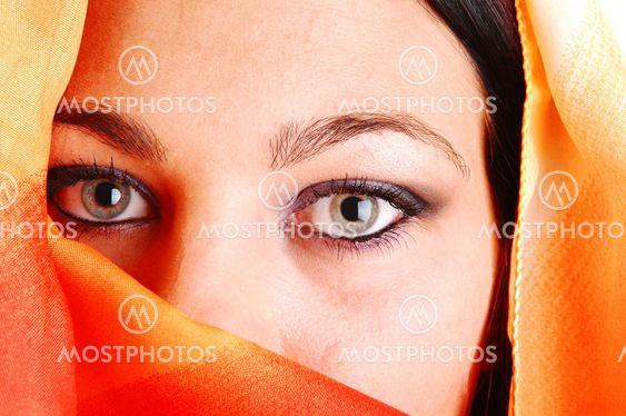 Closeup of eyes of girl.