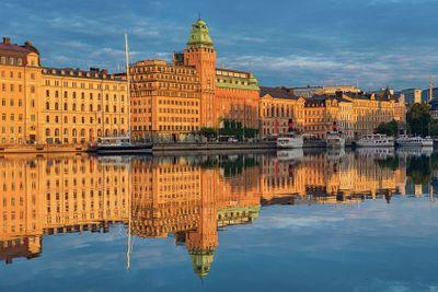 Nybroviken in Stockholm at sunrise.