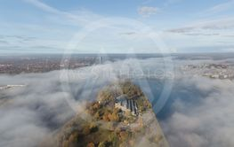 Riga Latvia Daugava river Zakusala island smoke cloud...