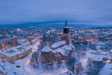Aerial panorama of Turku Cathedral and the city skyline