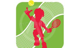 Stock Illustration Tennis Logo with Tennis Player Figure