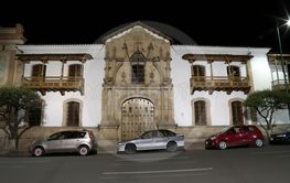 Facade of House of Freedom in the night, Sucre, Bolivia