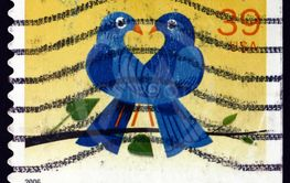 Postage stamp USA 2006 two birds in love