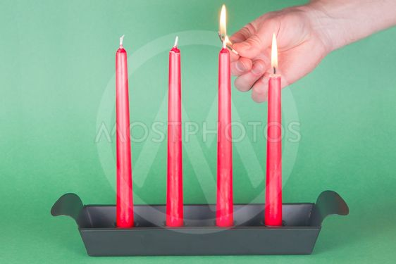 Second of Advent, red candles, lighted