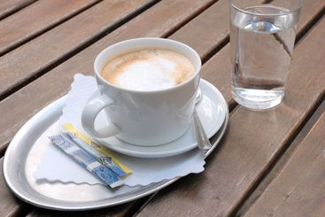 Coffee and a glass of water