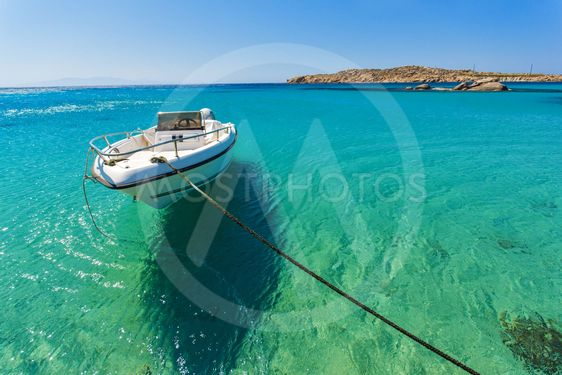 Clear waters of Paranga Beach on the island of Mykonos,...