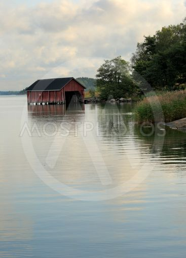 boathouse in morning light