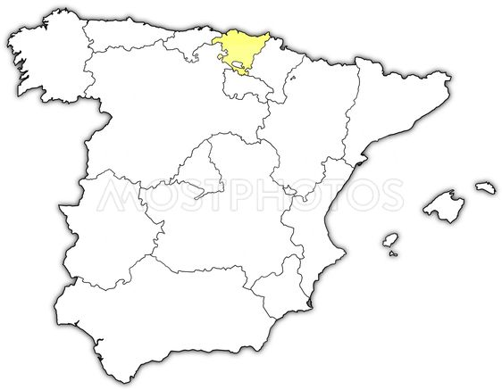 Map Of Spain Basque Region.Map Of Spain Basque Countr By Steffen Hammer Mostphotos