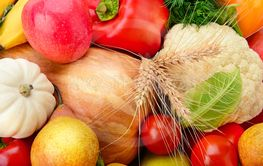 Background of Collection fresh fruits and vegetables .