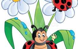 Flower and happy ladybugs theme image 1