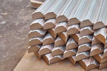 Joinery. Wood door manufacturing process. Stacked door...