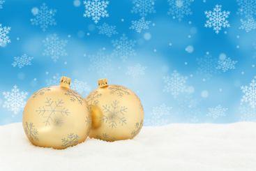 Christmas golden balls baubles background copyspace copy...