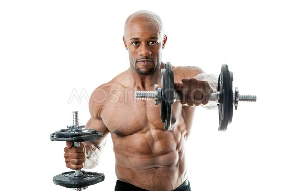 Muscle Man Holding dumbell