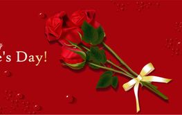 Red rose on the card. Horizontal banner for Valentine's...