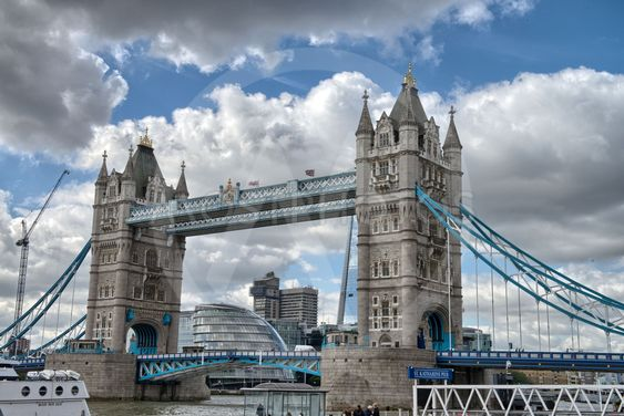 Famous Tower Bridge in the sunny autumn morning, London,...