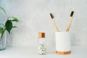 Zero waste bathroom items. Bamboo toothbrushes in...