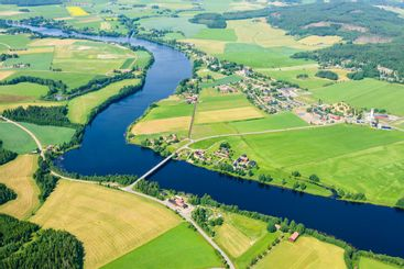 Aerial view of fields and river, Dalälven, Dalarna, Sweden