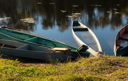 old boats on the river, autumn season.