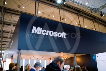 HANNOVER, GERMANY - MARCH 5: stand of the Microsoft on...