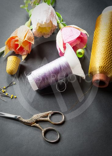 sewing tools with scissors