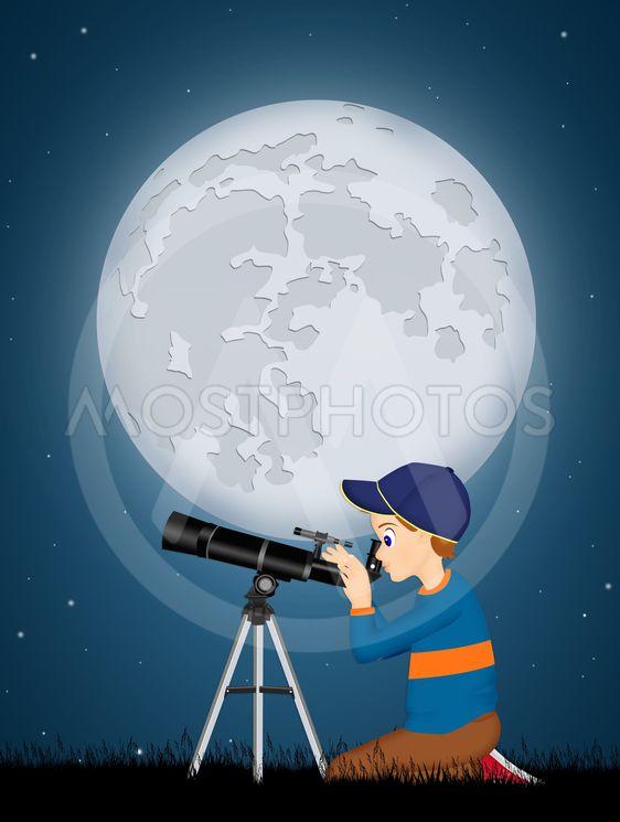 child look in the telescope
