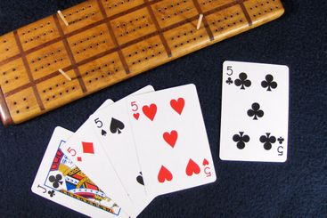 cribbage hand and board