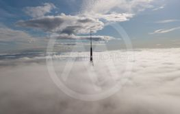 Riga Latvia Tv Tower Zakusala smoke clouds Europe biggest...