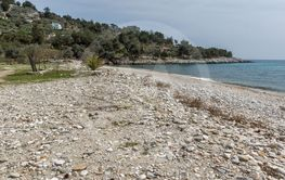 Panorama of village and beach of Aliki, Thassos island,...