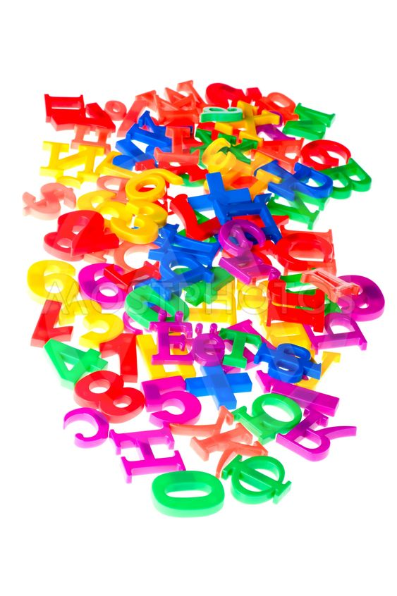 plastic letters and numbers on white