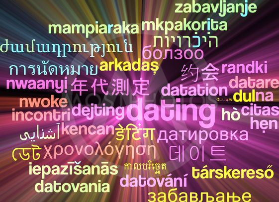 Dating multilanguage wordcloud background concept glowing
