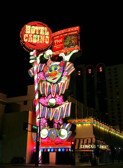 Circus Circus hotel and casino sigh at night, Reno, Nevada