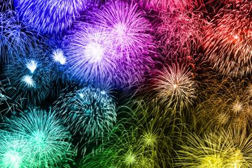 New Year's Eve fireworks background years year square...