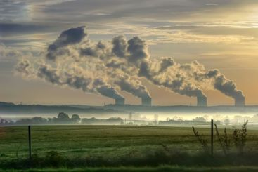 nuclear power station in the morning fog