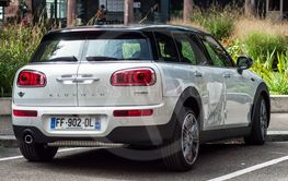 rear view of white mini cooper clubman parked in the...