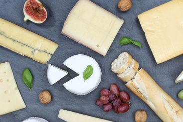 Cheese board platter plate Swiss bread Camembert square...