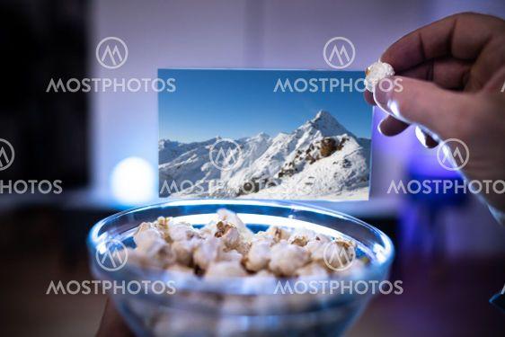 Enjoying Popcorn Snacks Watching TV Or Television