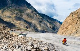 Off road vehicles with tourists in Jomsom, Mustang area,...