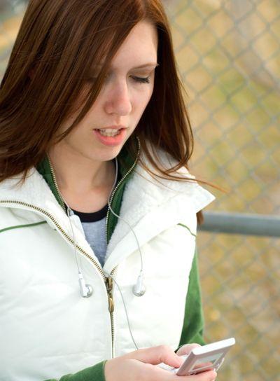 Girl checking phone