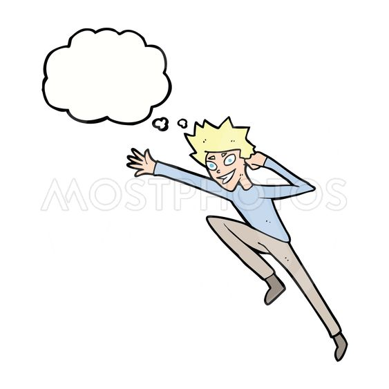 cartoon jumping man with thought bubble