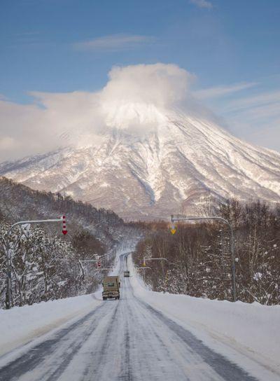 Winter road to Mt.Yotei, Hokkaido.