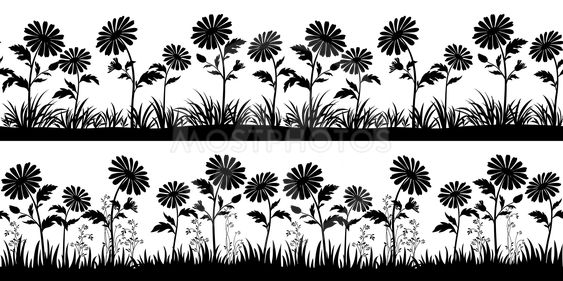 Flowers Silhouettes, Seamless