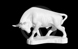 statue of a bull on a black background