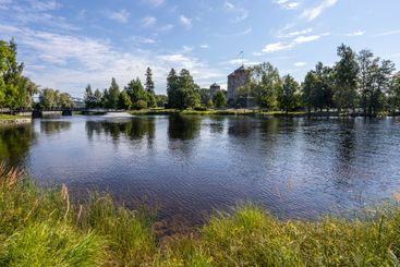 The lake and the surroundig park of Olavinlinna Castle