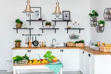 White Kitchen, Colorful Fruits and Vegetables on White...