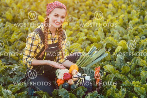 Farmer woman offering basket of healthy organic vegetables