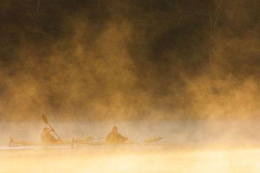 Kayaking in the morning mist