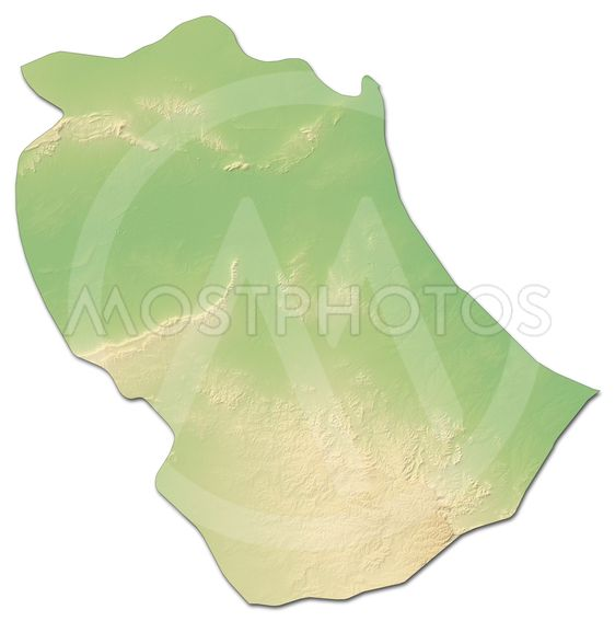 Relief map - Gabes (Tunisia) - 3D-Rendering